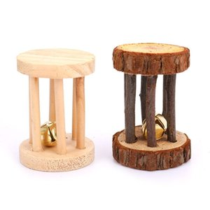 Cute Natural Wooden PVC Rabbits Toys Pine Dumbells Unicycle Bell Roller Chew Toys For Guinea Pigs Rat Small Pet Molars Supplies