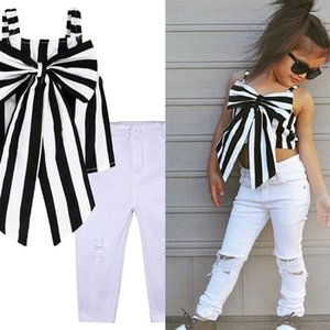 INS Fashion Girls Clothing Set 2021 Summer Children Striped Sleeveless Tops Butterfly Baby Girls Suit Kids Pants With Holes H239NMQ