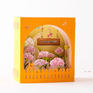 Mother's Day Greeting Card 3D Pop-Up Hollow Paper Carving Carnation Flowers Mother's Day Teacher's Day Greeting Cards EWD5201