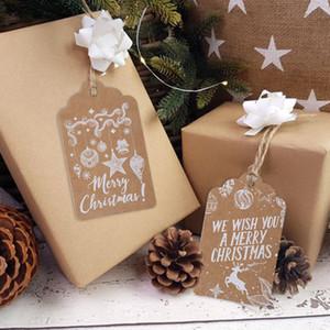 50 pcs Feliz Natal obrigado Kraft Papel Tags Xmas Árvore Hanging Label Navidad Ano Novo Partido Gift Card Decorações para casa