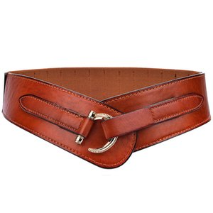 Women's Vintage Style Leather Wide Belt Fashion Casual Waistband for Down Jacket and Coat