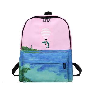 50pcs Autumn Fresh Cartoon Bear Animal Hot air balloon embroidered Casual School Bags Female Canvas Backpack Zipper Bags