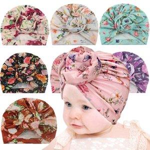 Tie-Dye Flower Head Wrap Cappello Cappelli Berretti Bandele Bandele Cappelli Bambini neonato Cute Toddler Copricapo Infantile bambine Ball Knot Turban GG20302