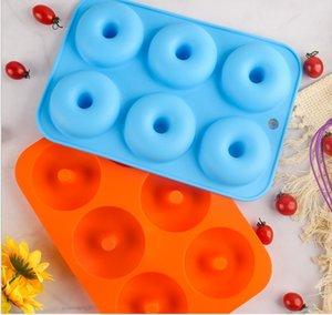 Nuovo Arrivo Silicone Donut Stampa Stampo da forno Pan Diy Donuts 6 Maker Geren Stampo Maker Non-Stick Silicone Torta in silicone Stampo pasticceria Utensili da forno 2021