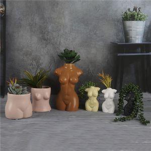 Mini Body Art Design Vase Blumentopf Kardashian Sexy Keramik Kreative Brust Bust Statue Pflanzung Home Decoration Schreibtischdekor 210310