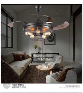110V~260V American loft fan chandeliers creative minimalist restaurant industrial living room fan chandelier with remote control