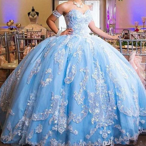 Sky Blue Detachable Sleeves Prom Quinceanera Dresses Cheap Ball Gowns 2021 Strapless Corset Back Lace Applique Tiered Skirt Tulle Sweet 15