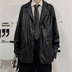 2021 Новая корейская кожаная мужская мода повседневная черная мотоцикл куртки мужская уличная одежда дикий свободный хип-хоп бомбардировщик куртка мужчины M-XL GBQJ