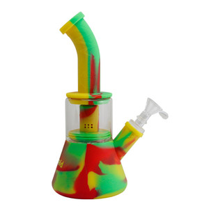 Waxmaid Silicone Glass water Pipe FDA Approved 10 Inch Multi Colors Glass Water Bong Mini Dab Rigs With Perc Free Shipping