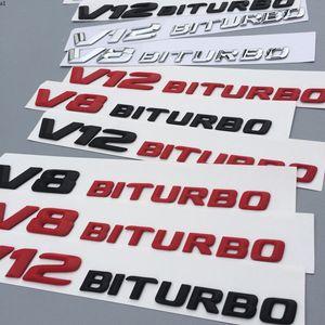 V8 V12 Bitroubo Letters Emblem شارة لمرسيدس بنز C63 E300L درابزين الجانب SuperCharge Turbo Logo سيارة التصميم