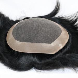 Eversilky Human Hair Toupee für Männer Spitze + NPU Haarperücken für Männer 100% indische menschliche Haare Ersatzperücken