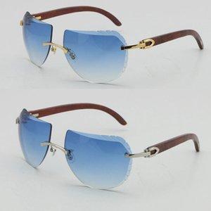 Diseño sin montura de alta calidad Marco de oro Gafas de sol de madera Moda UV400 Mujeres Hombres C Decoración 8200763 Masculino y femenino Gafas de sol de madera Diamante Corte Lentes Lentes Lentes