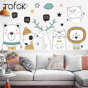 Tofok DIY Encantador animal oso de los ciervos Etiqueta de la pared Puerta Inicio Habitación para niños Calcomanías de la guardería Sala de la sala de estar Sofá TV Fondo decoración 210308