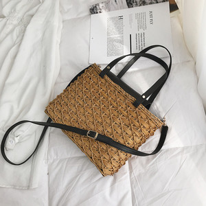 Casual Straw Bag Natural Wicker Tote Bags Women Braided Handbag For Garden Handmade Mini Woven Rattan Bags C0302