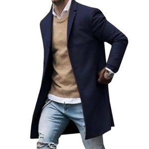 Men's Trench Coats Men Business Coat Spring Autumn Superior Quality Buttons Male Fashion Outerwear Jackets Windbreaker Plus Size