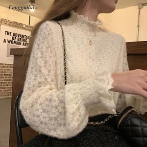 Spring Stand Collier Pull Pull Femmes Vêtements Nouveau Coréen Dentelle Blouse Femmes Office Dame Élégante Dentelle Solide Dentelle