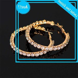 Luxury Women's Grand Black Gold Silver Colour Bruiloft Jewellery Punk Bridal White Round Crystal Earrings For Women