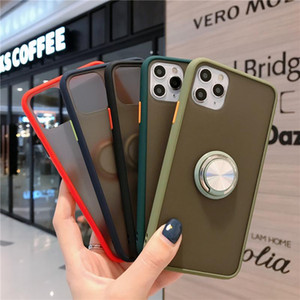Clear Hard Matte Phone Case With Magnetic Car Ring Holder for iPhone 12 Mini 11 Pro XS MAX Xr 8 7 Samsung Note 10 20 S10e S20 Ultra Plus