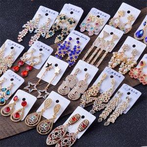 Crystal Rhinestone Drop Stud Earrings Jewelry Cubic Zirconia Pearl Star Flower Tassel Women Studs Fashion Bling Party Earring Gift for Girls