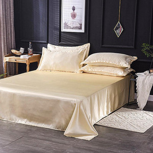 40Hot Sale Wholesale Luxury 100% Satin Silk White 1PCS Flat Sheet Silky Queen King Bed Sheets For Women Men