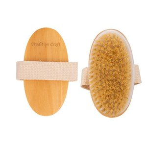 Natural Bristle Brush Wooden Bath Shower Bristle Brush Dry Skin Body Soft SPA Body Brush without Handle YHM643