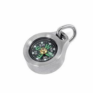 Titanium Alloy  Luminous Waterproof Compass Pendant Outdoor Mini Compass Keychain Necklace With Stainless Steel Bead Chain