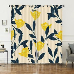 Curtain & Drapes Yellow Rose Tropical Design High Density Block Light Durable Flowers Pattern Customized For Any Room