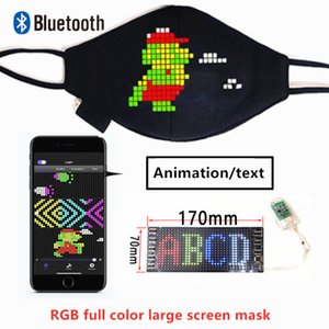 RGB 7-color Bluetooth Programmable Flashing Animation Scrolling Text LED Face Masks for Bar DJ Party with USB Battery Luminous Masks