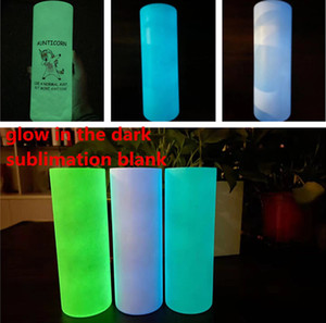 sublimation blank straight tumbler glow in the dark tumbler 20oz with Luminous paint Luminescent staliness steel tumblers
