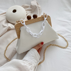 HBP Stone Pattern PU Leather Clip bag For Women 2021 Small Acrylic Chain Shoulder Bags Lady Shell Crossbody Bags Fashion Handbags