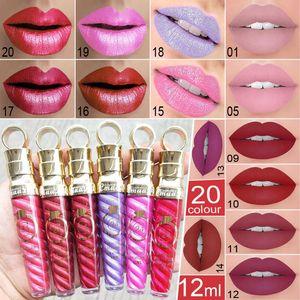 CmaaDu Waterproof Lip Gloss Liquid Lipstick Thread Tube 20 Color Metallic Pearl 24 Hours with Vitamin E Makeup Matte Lipgloss
