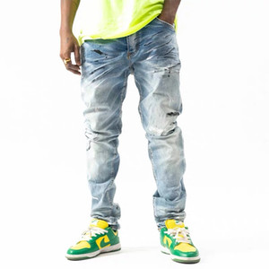 2021New design Men Designer jeans Distressed Ripped Stars Patches Biker Slim Fit Motorcycle Biker Denim Hip Hop jeans For mens Fashion jeans