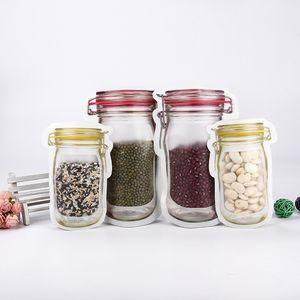 500Pcs Reusable Food Storage Zipper Bags Mason Jar Shape Snacks Airtight Seal Food Saver Leak-proof Bags Kitchen Organizer Bags GWE9622