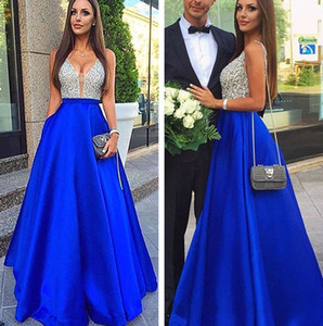 Elegant Royal Blue Prom Dresses A-line Sexy Backless Top Glitter Silver Sequined Deep V-neck Long Formal Evening Party Gowns Cheap