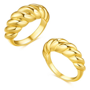 New Fashion Croissant Ring for Women Hip Hop Punk Thread Ring Vintage Twist Copper Rings Wholesale Jewelry