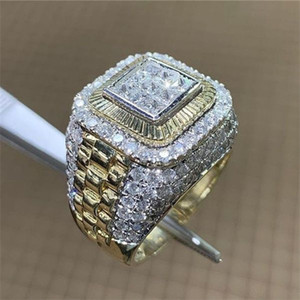 Fashion Contrast Color Diamond Ring Championship Rings Crystal Gold Men Rings Hip Hop Fashion Jewelry Will and Sandy Gift
