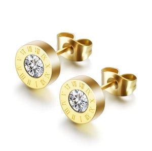 Dangle & Chandelier 316L Stainless Steel Roman Numeral Zircon Earrings Golden Rose Gold Women's Not Fade