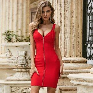 Vero Patly 2021 Moda de verano Sólido Sexy Strap V Cuello rojo Bodycon Mujer Vendaje Vendaje elegante Vestido de fiesta Vestido