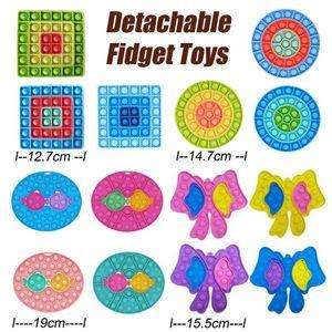Detachable Fidget Push Bubble Toys Anti-Stress Decompression Board kiss fish Finger Toy Thimble Round Square Bow Shapes