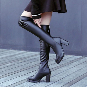 Donne Nuovo Autunno sopra il ginocchio Stivali Donna PU in pelle Zipper Womens Tacchi alti Botas Femminile Sexy Piattaforma Sexy Signore Shoes Moda Scarpe N9GA #