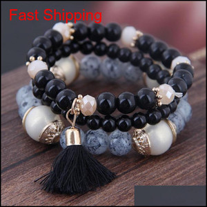2019 Bohemian 3pcs  Set Tassel Charm Pendant Beads Bracelets For Women Simulated Pearl Jewelry Womens B qylGcA bdehome