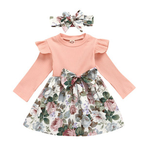 Girls Floral Dress Suit Infant Baby Splice Bow Princess Dress Kids Casual Clothes Girls Spring Autumn Ruffler Dresses With Headband 06