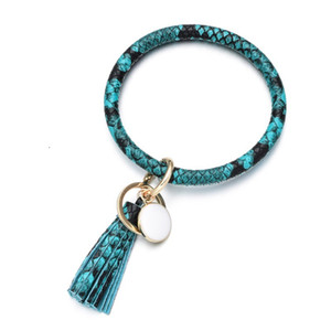 2021 Hot Creative PU Leather Bracelet Keychain round Piece Drop Oil Tassel Pendant Hot Sale Leather Bracelet
