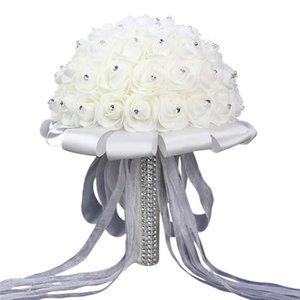 Flores decorativas grinaldas funpa buquê romântico rosas românticas de dama de honra artificial para a igreja partidária