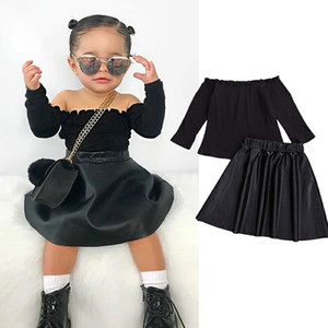 kids clothes girls outfits children off shoulder Tops+PU leather skirts 2pcs set 2021 Spring Autumn Boutique baby Clothing Sets Z2411