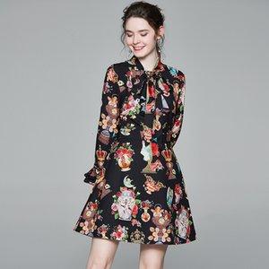 2021 Новая мода дизайнер каскадные оборками слои пирожные женщины взволнованы воротник цветок напечатаны полосатая высокая талия линия короткая линия es bedqu i9z8