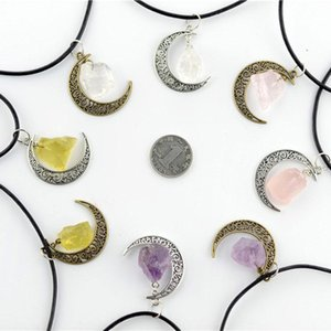 New Simple Women Men Irregular Natural Stone Amethyst Crystal Healing Moon Pendant Necklaces Jewelry With Chain