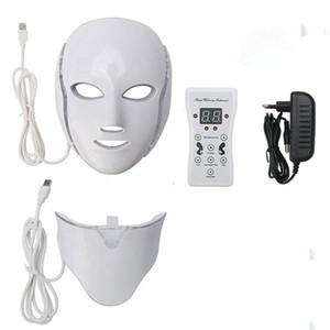 Hot sales 7 Color LED mask light Therapy face Beauty Machine LED Facial Neck Mask Microcurrent led Skin Rejuvenation FEDEX Free shipping