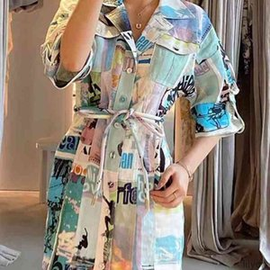 Street Style Dresses summer mosaics color lapel French small Retro Ramie Show thin shirt fashion