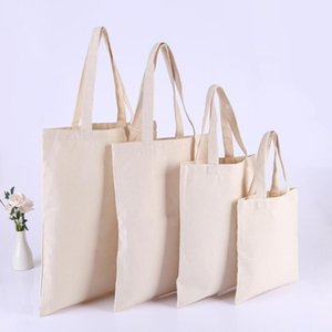 10 Pcs Contton Shopping White Casual Canvas Totes Beach Bag Customized